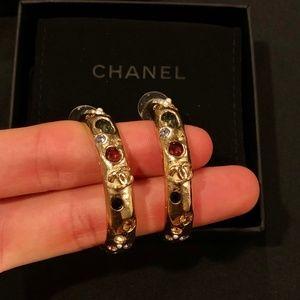 CHANEL Egyptian Gold Stone Logo Hoop Earrings
